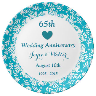 65th Wedding Anniversary Sky Blue A01 Plate