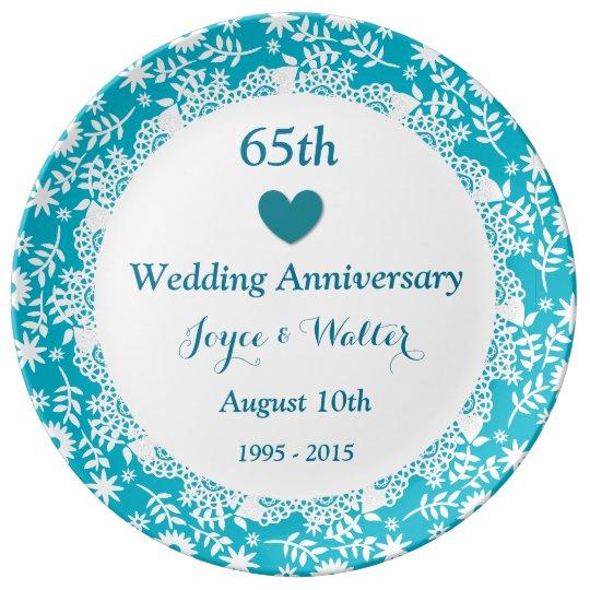 65th Wedding Anniversary Sky Blue A01 Plate
