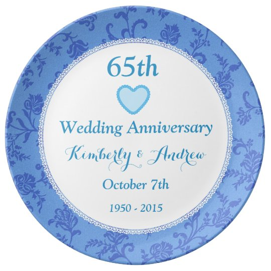 Gifts For 65th Wedding Anniversary: 65th Wedding Anniversary SKY BLUE Damask W65A Plate