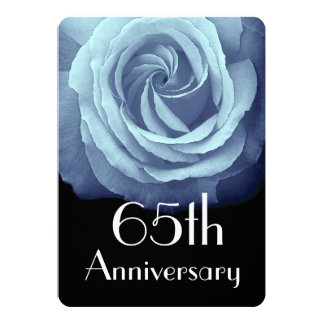 65th Wedding Anniversary Sky Blue Rose A05 Card
