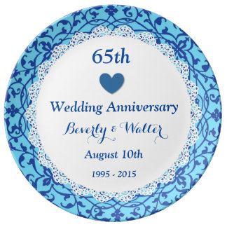 65th Wedding Anniversary Sky Blue Vines B07 Dinner Plate