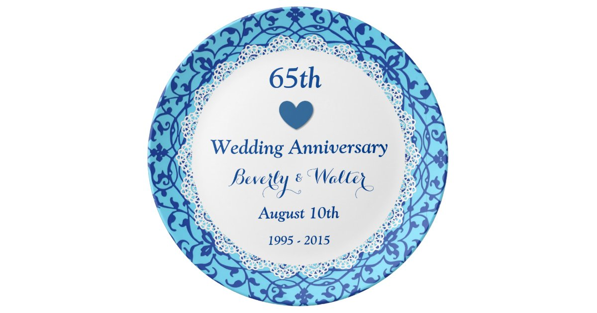 65th wedding anniversary sky blue vines b07 dinner plate. Black Bedroom Furniture Sets. Home Design Ideas