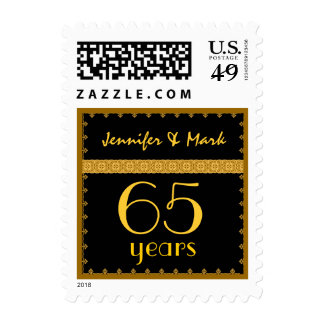 65th Year Anniversary - Black and Gold Lace Stamp