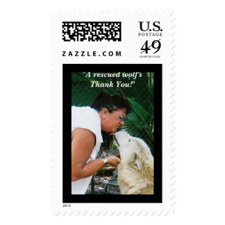 """6663260-R1-038-17A, """"A rescued wolf's Thank You!"""" Postage Stamps"""