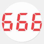 666 alarm clock numbers round sticker