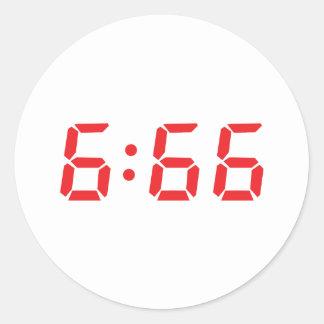 666 devil alarm clock classic round sticker