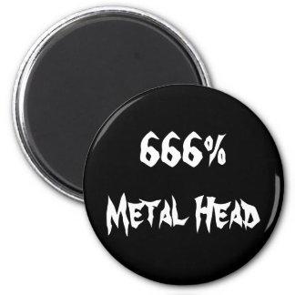 666%Metal Head 2 Inch Round Magnet