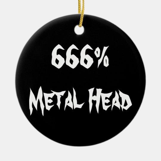 666%Metal Head Ceramic Ornament