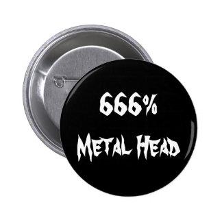666%Metal Head Pinback Button