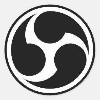 666 triples seis (negro) pegatina redonda