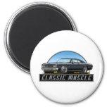 66 Chevelle Black 2 Inch Round Magnet