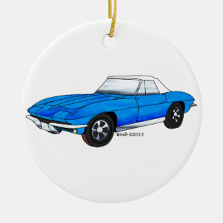 66 Corvette Roadster Double-Sided Ceramic Round Christmas Ornament
