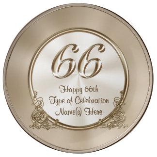 66.o aniversario personalizado, 66.os regalos de platos de cerámica