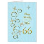 66.o cumpleaños de la esposa con las mariposas de  tarjeton