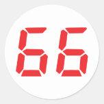 66 sesenta y seis números digitales del pegatina redonda