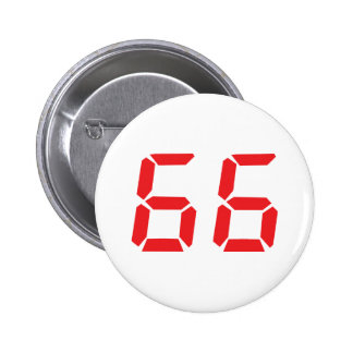 66 sixty-six red alarm clock digital number pinback button