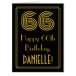 "[ Thumbnail: 66th Birthday: Art Deco Inspired Look ""66"" + Name Card ]"
