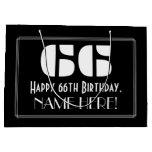 "[ Thumbnail: 66th Birthday ~ Art Deco Inspired Look ""66"" + Name Gift Bag ]"