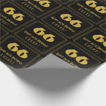 """[ Thumbnail: 66th Birthday – Art Deco Inspired Look """"66"""" & Name Wrapping Paper ]"""