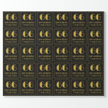 """[ Thumbnail: 66th Birthday ~ Art Deco Inspired Look """"66"""", Name Wrapping Paper ]"""