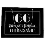 "[ Thumbnail: 66th Birthday: Art Deco Inspired Style ""66"", Name Gift Bag ]"