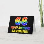 [ Thumbnail: 66th Birthday: Bold, Fun, Simple, Rainbow 66 Card ]