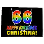 [ Thumbnail: 66th Birthday: Bold, Fun, Simple, Rainbow 66 Gift Bag ]