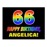[ Thumbnail: 66th Birthday: Bold, Fun, Simple, Rainbow 66 Postcard ]
