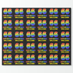 [ Thumbnail: 66th Birthday: Bold, Fun, Simple, Rainbow 66 Wrapping Paper ]