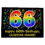 [ Thumbnail: 66th Birthday - Colorful Music Symbols, Rainbow 66 Gift Bag ]