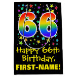 [ Thumbnail: 66th Birthday: Colorful Stars Pattern & Rainbow 66 Gift Bag ]