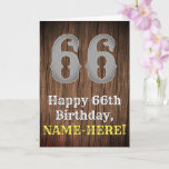 [ Thumbnail: 66th Birthday: Country Western Inspired Look, Name Card ]