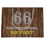[ Thumbnail: 66th Birthday: Country Western Inspired Look, Name Gift Bag ]
