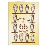 66th birthday, Curious owls card.