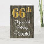 [ Thumbnail: 66th Birthday: Elegant Faux Gold Look #, Faux Wood Card ]