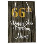 [ Thumbnail: 66th Birthday: Elegant Faux Gold Look #, Faux Wood Gift Bag ]