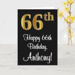 [ Thumbnail: 66th Birthday ~ Elegant Luxurious Faux Gold Look # Card ]