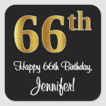 [ Thumbnail: 66th Birthday – Elegant Luxurious Faux Gold Look # Sticker ]
