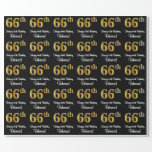 [ Thumbnail: 66th Birthday: Elegant Luxurious Faux Gold Look # Wrapping Paper ]
