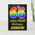 [ Thumbnail: 66th Birthday: Fun Fireworks Pattern + Rainbow 66 Card ]