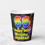 [ Thumbnail: 66th Birthday: Fun Fireworks Pattern + Rainbow 66 ]