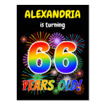 "[ Thumbnail: 66th Birthday - Fun Fireworks, Rainbow Look ""66"" Postcard ]"