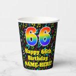 [ Thumbnail: 66th Birthday: Fun Music Notes Pattern, Rainbow 66 ]