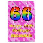 [ Thumbnail: 66th Birthday: Fun Pink Hearts Stripes; Rainbow 66 Gift Bag ]