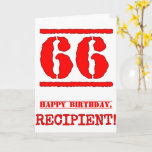 [ Thumbnail: 66th Birthday: Fun, Red Rubber Stamp Inspired Look Card ]