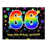 [ Thumbnail: 66th Birthday: Fun Stars Pattern, Rainbow 66, Name Postcard ]