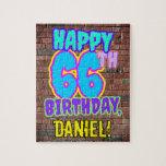 [ Thumbnail: 66th Birthday ~ Fun, Urban Graffiti Inspired Look Jigsaw Puzzle ]
