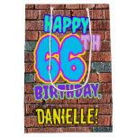 [ Thumbnail: 66th Birthday: Fun, Urban Graffiti Inspired Look Gift Bag ]