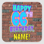 [ Thumbnail: 66th Birthday – Fun, Urban Graffiti Inspired Look Sticker ]