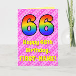 [ Thumbnail: 66th Birthday: Pink Stripes & Hearts, Rainbow # 66 Card ]